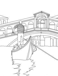 Venedig Gondel zum ausmalen