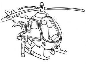 Ausmalbilder Feuerwehrmann Sam mit einem Hubschrauber