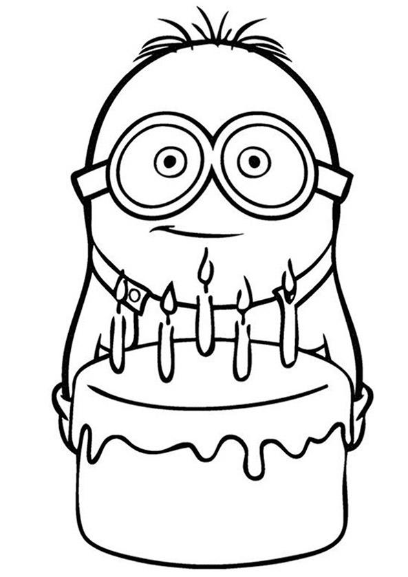 Ausmalbilder Minions Geburtstag