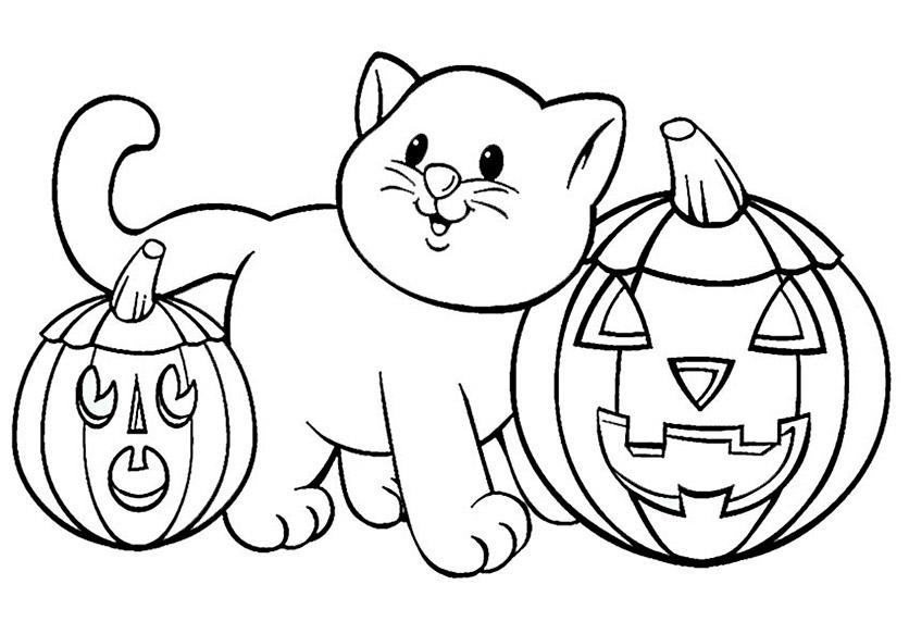 Ausmalen Halloween, Eine Katze und zwei Kürbis